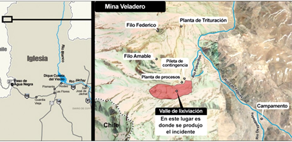 Harta regiunii argentiniene unde este situată mina de aur Veladero